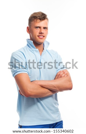 Handsome young caucasian guy in casual isolated over white background