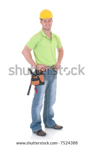 Handsome young construction worker wearing helmet and tool belt, studio shot,  white background