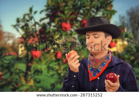 Handsome young cowboy holding red apple in each hand. He is wearing black cowboy hat, dark blue plaid shirt and colored bandana. He is posing on the background of apple orchard - stock photo