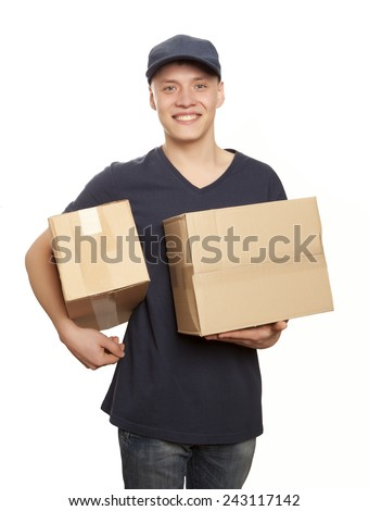 Handsome young delivery man portrait isolated on white - stock photo