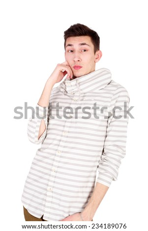 handsome young fashion man dreaming - stock photo