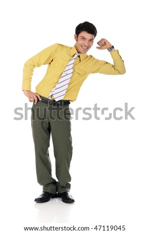 Handsome young  happy Asian Nepalese businessman smiling, leaning on virtual product.  Studio white background - stock photo