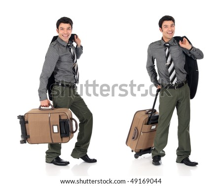Handsome young  happy smiling Asian Nepalese businessman, traveler with  suitcase.  Studio white background - stock photo