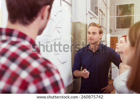 Handsome Young Male Leader of the Group Discussing a Project Plan to Colleagues at the White Board. - stock photo