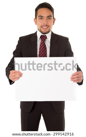 handsome young man holding a blank board isolated on white