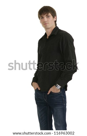 handsome young man in a black shirt on a white