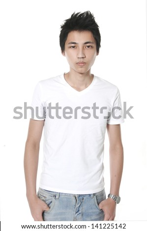 Handsome young man in a casual style clothing on white background - stock photo