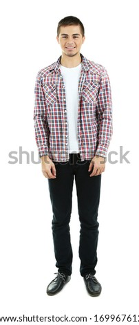 Handsome young man isolated on white - stock photo