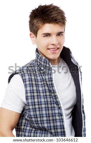 Handsome young man isolated on white background - stock photo