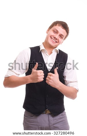 Handsome young man isolated over white background - stock photo
