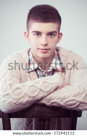 handsome young man portrait - colorized photo - stock photo