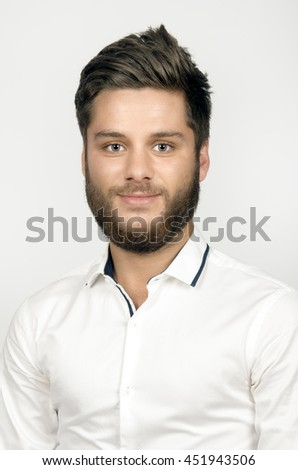 Handsome young man portrait on white background - stock photo