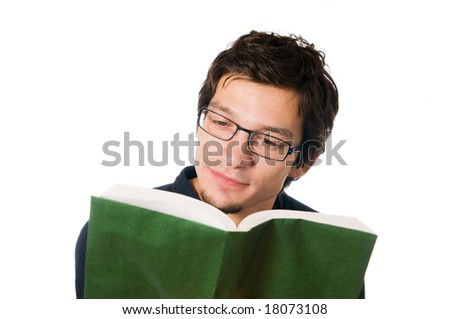 Handsome young man reading a book, isolated on white background - stock photo