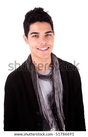 Handsome young man smiling. Isolated on white background. Studio shot. - stock photo