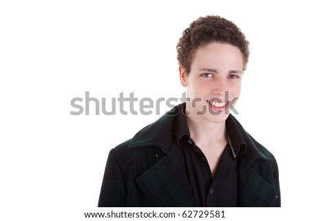 handsome young man smiling  on white background. Studio shot