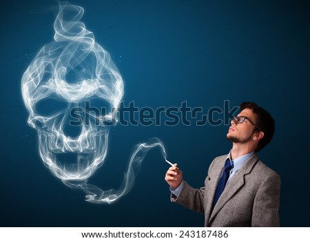 Handsome young man smoking dangerous cigarette with toxic skull smoke - stock photo