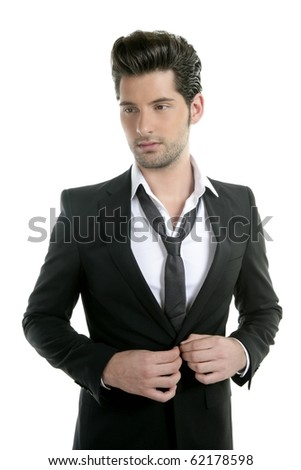 Handsome young man suit casual necklace suit isolated on white - stock photo