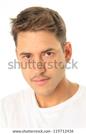 Handsome young man with a mustache. - stock photo