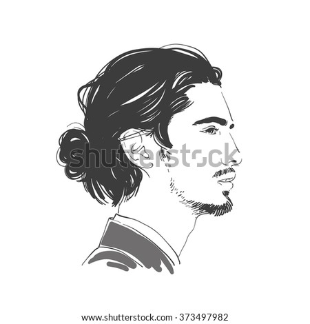Handsome young man with long hair. Hipster hairstyle topknot . Fashion hand drawn illustration. - stock photo
