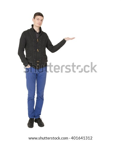 Handsome young  man with open palm on the white background. - stock photo