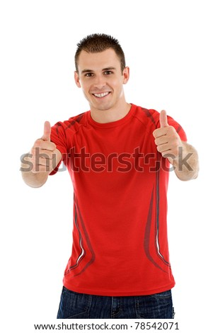 Handsome young man with thumbs up gesture, meaning that everything is all right - isolated on white background. - stock photo