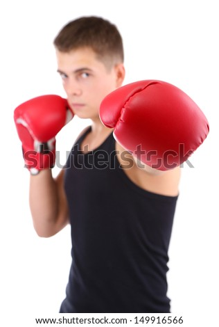 Handsome young muscular boxer isolated on white - stock photo