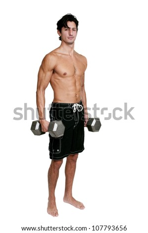 Handsome young muscular man lifting a weight - stock photo