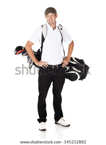 Handsome young professional golf player wearing a white shirt and black pants. He is carrying a golf bag on his back and is smiling. - stock photo