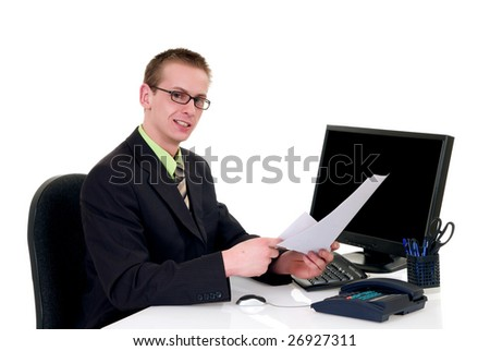 Handsome young successful businessman making deal, handing over contract,  white background,  studio shot.