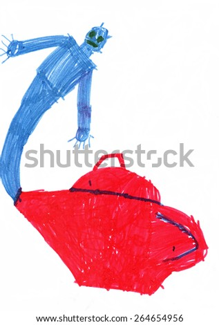 Handwork. Children's drawing. Gin from a lamp. - stock photo