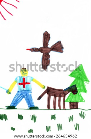 Handwork. Children's drawing.The man with a horse. - stock photo