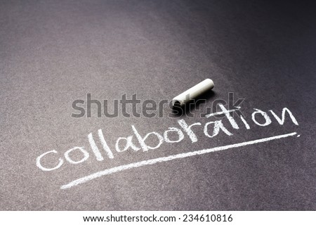Handwriting of Collaboration word as topic with chalk - stock photo
