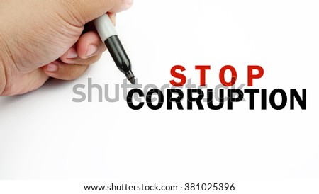 "Handwriting of word  "" stop corruption ""          - stock photo"