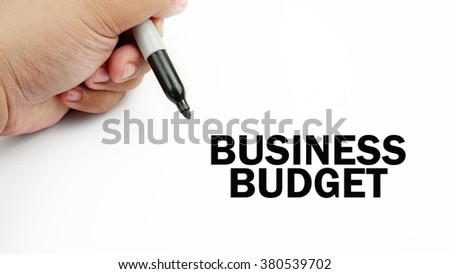"Handwriting of word that related to business "" business budget "" ."