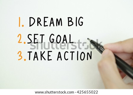 handwriting on paper DREAM BIG concept,business analysis and strategy