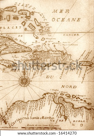 Handwritten ancient map of Caribbean basin from the book of 1678