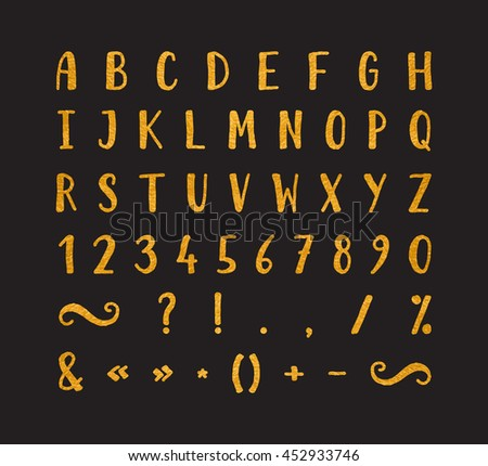 Handwritten bold gold font with punctuation marks on black background. Uppercase font contains question mark, exclamation point, period, comma, dash, hyphen, bracket etc. Raster copy of vector file.