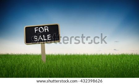 Handwritten chalk For Sale sign on a slate signboard on a green grassy plot of land or meadow under a graduated blue sky with copy space in a panoramic banner format. 3d Rendering. - stock photo