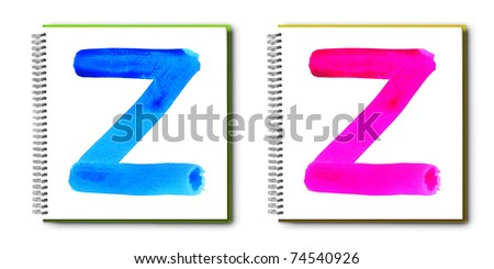 Handwritten colorful watercolor alphabet on painting book, isolated.