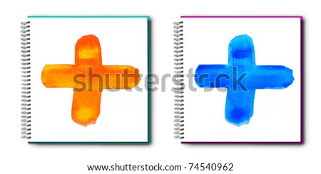 Handwritten colorful watercolor alphabet on painting book, isolated. - stock photo