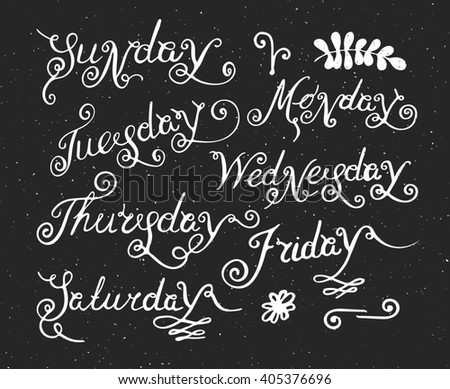 Handwritten days of the week Monday, Tuesday, Wednesday, Thursday, Friday, Saturday and Sunday. Handdrawn calligraphy lettering for diary and banner, calendar and poster. Raster copy of vector file. - stock photo