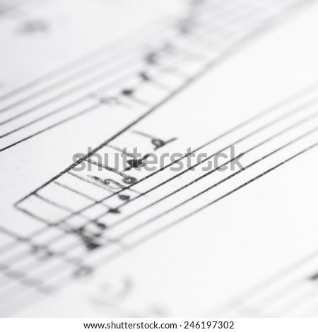 Handwritten musical notes, shallow DOF - stock photo