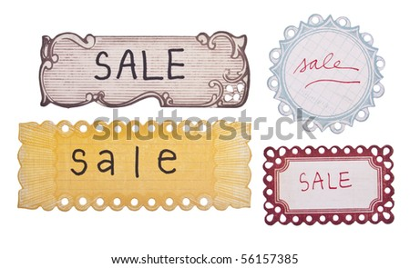 Handwritten Sale Tags with a Vintage Modern Style. - stock photo