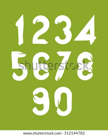 Handwritten white numbers on green backdrop, stylish numbers set drawn with ink brush. - stock photo