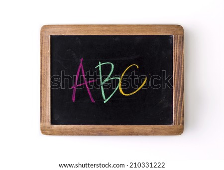 """Handwritten with colored chalks on a blackboard: letters """"ABC"""" - stock photo"""