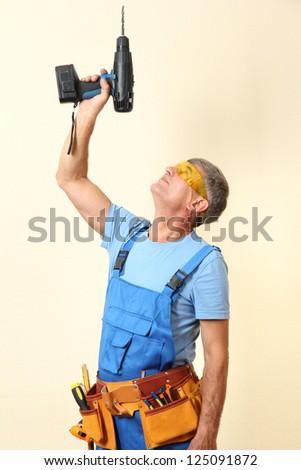 Handyman drill close-up - stock photo