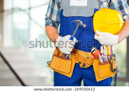 Handyman, men, belt. - stock photo