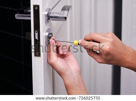 Handyman Repair Door Lock Room Man Stock Photo (Royalty Free) 726025735 - Shutterstock & Handyman Repair Door Lock Room Man Stock Photo (Royalty Free ...