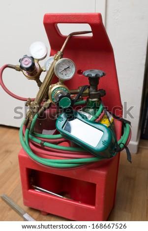 Handyman repairman HVAC tools - stock photo