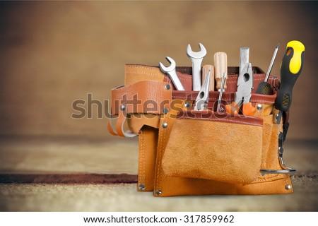 Handyman tool belt. - stock photo